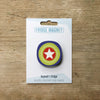 Millefiori design fridge magnet in white star colour variation by Beyond the Fridge