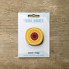 Millefiori design fridge magnet in yellow circle colour variation by Beyond the Fridge