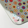 millefiori design grey magnetic memo board  corner detail