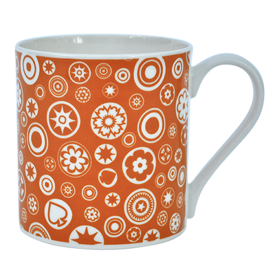 Bone China Mug Millefiori Design Orange