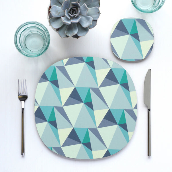 shards geometric design table setting with placemat and coaster by Beyond the Fridge in Ocean colour variation