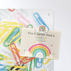 paper clips design magnetic notice board with a postcard attached with a rainbow fridge magnet