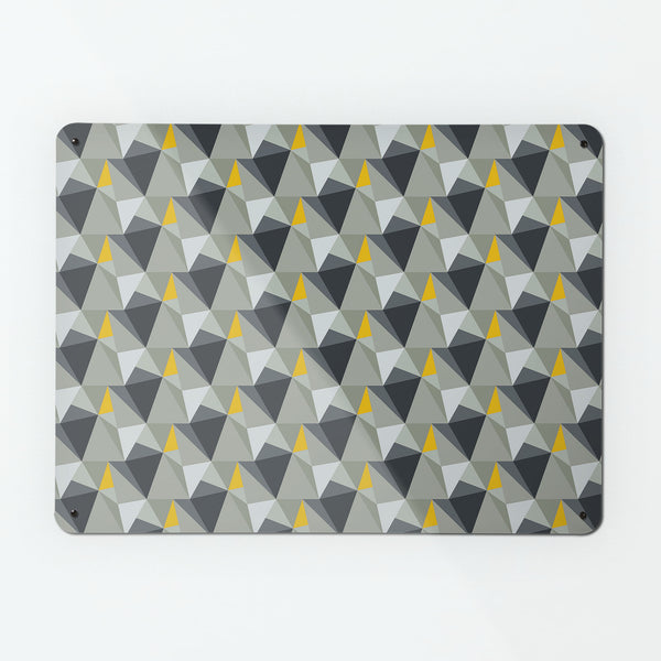 Shards design small magnetic notice board or metal wall art panel in concrete and yellow colour by Beyond the Fridge
