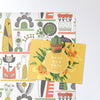 shelf life design magnetic notice board with a postcard attached with a cactus fridge magnet