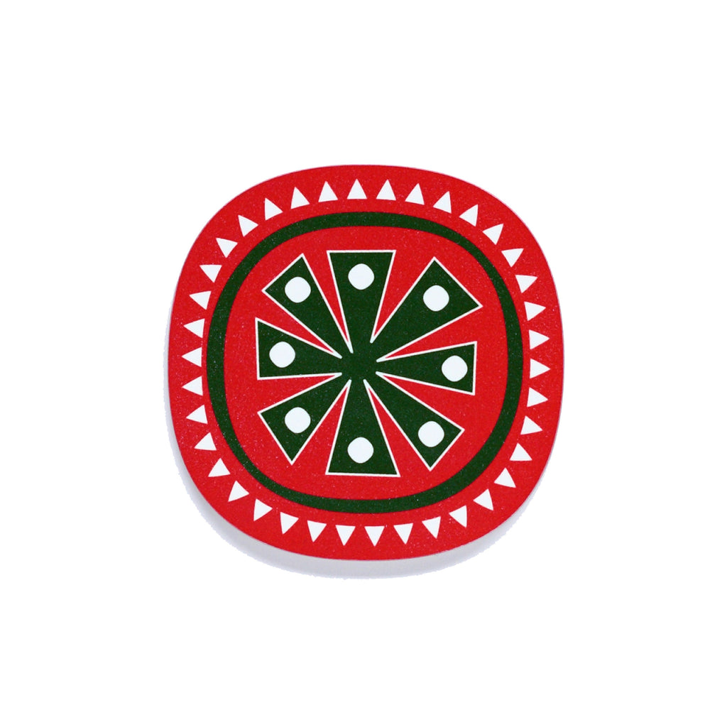 Snowflake design Christmas coaster green on red