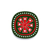 Snowflake design Christmas coaster red on green