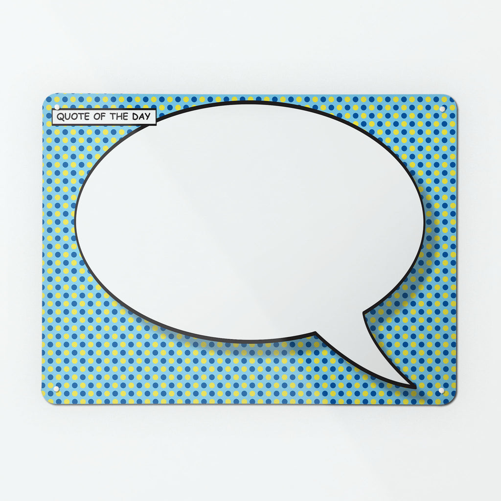 Cartoon Speech Bubble Magnetic Notice Board - Blue and Yellow