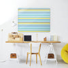 Stripes Beach Design Magnetic Notice Board in a workspace setting