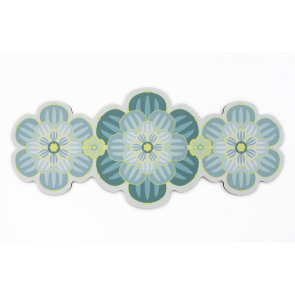 Flower shaped Centrepiece Table Mat with a succulent design in Teal colour way by Beyond the Fridge
