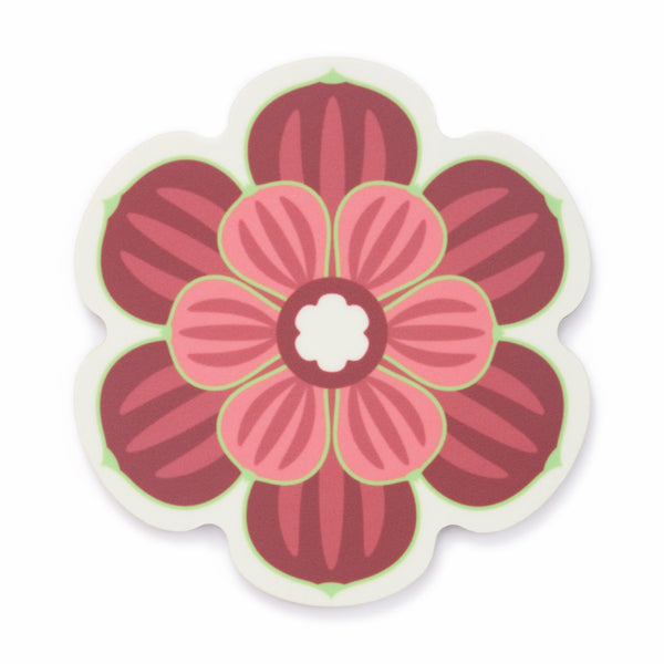 Flower shaped coaster with a succulent design in Maroon colour way by Beyond the Fridge