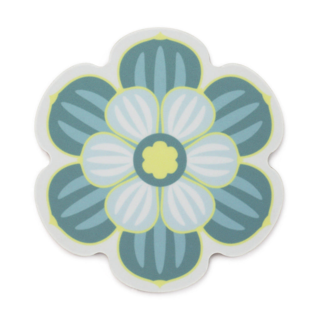 Flower shaped coaster with a succulent design in Teal colour way by Beyond the Fridge