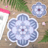 Flower shaped placemat and coaster with a succulent design in Dusky Mauve colour way by Beyond the Fridge