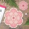 Flower shaped placemat and coaster with a succulent design in Pink colour way by Beyond the Fridge