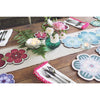 A table set for alfresco dining with Succulent design placemats, coasters and centrepiece table mats by Beyond the Fridge