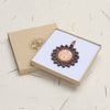 sun face design walnut pendant necklace in a gift box