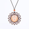 sun face design walnut pendant necklace
