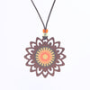 sunburst design walnut pendant necklace