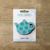 Spotty Teapot design fridge magnet in turquoise colour variation by Beyond the Fridge