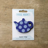 Spotty Teapot design fridge magnet in blue colour variation by Beyond the Fridge