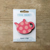 Spotty Teapot design fridge magnet in pink colour variation by Beyond the Fridge