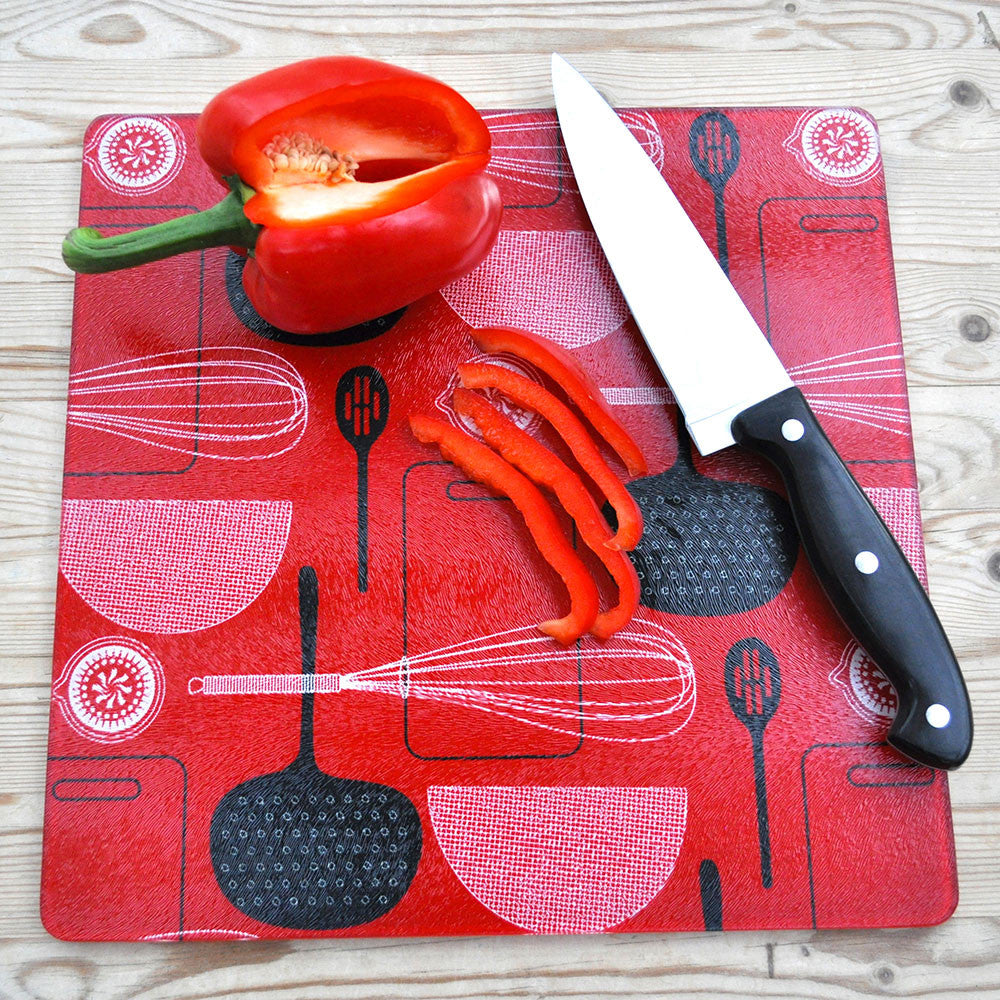 Utensils Red Glass Chopping Board