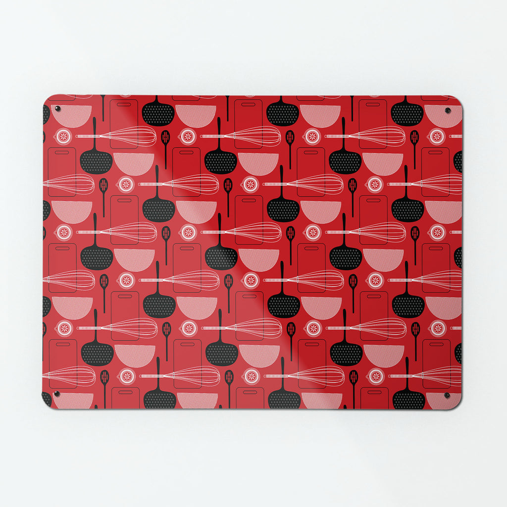 Utensils Red repeat pattern magnetic notice board