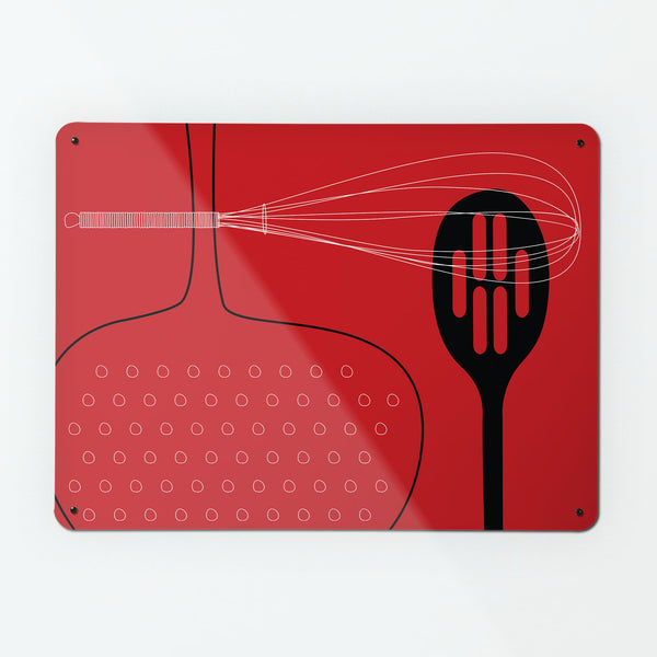 Utensils Design Magnetic Notice Board Board - Red