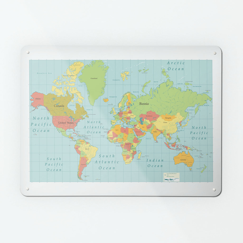 world map large magnetic board metal wall art panel