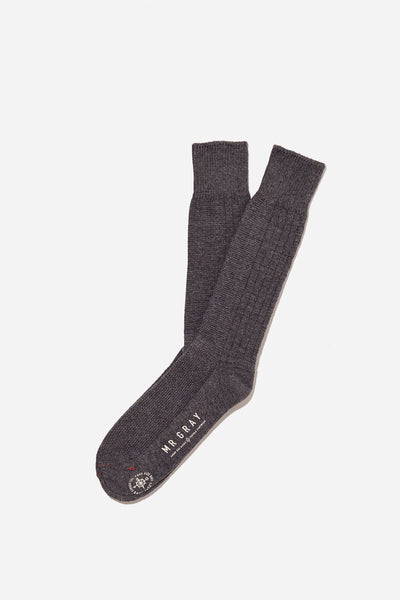 Custom Aran Knit Pattern Sock | Charcoal Heather