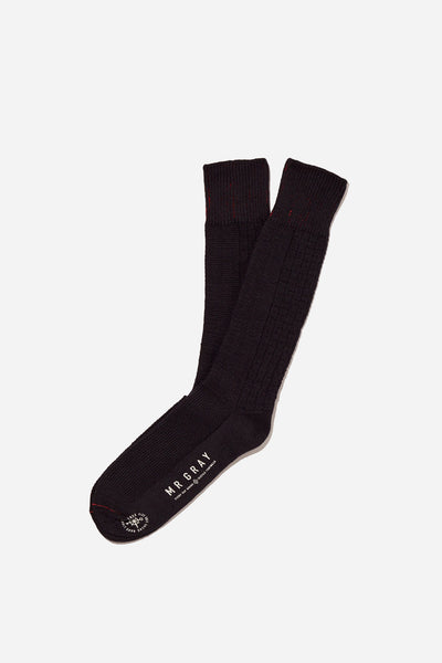 Custom Aran Knit Pattern Sock | Black