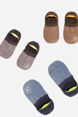 2 Tone Melange Invisible Sock | Olive + Charcoal + Blue