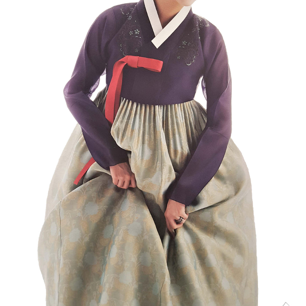 eggplant hand-embroidery and two-tone seafoam green and gold hanbok