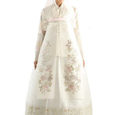 white bridal hanbok