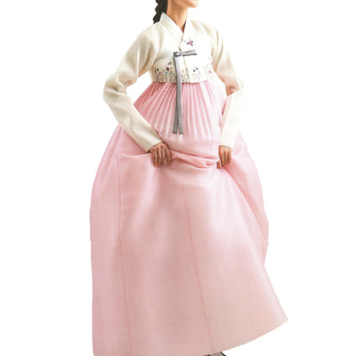 white hand-embroidery and carnation hanbok