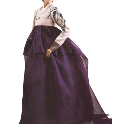 carnation and purple hanbok with train