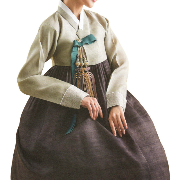 pistachio and brown hanbok