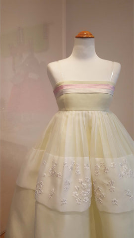 powder pink and pale yellow hanbok