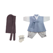 Hanbok - Blue and Gray 100th Day 4 pcs. Set - 백일복