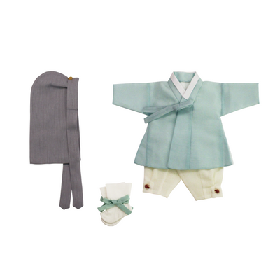 Hanbok - Seafoam Blue and Cream 100th Day 4 pcs. Set - 백일복