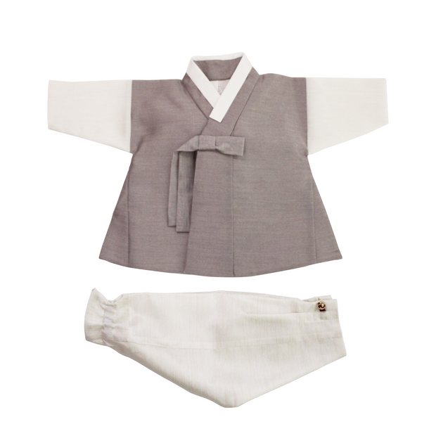 Hanbok - Gray and Ivory 100th Day 4 pcs. Set - 백일복
