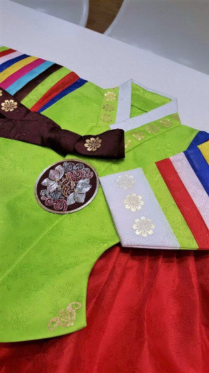Green and Red - Girl Dol Hanbok Set - 7 Pieces