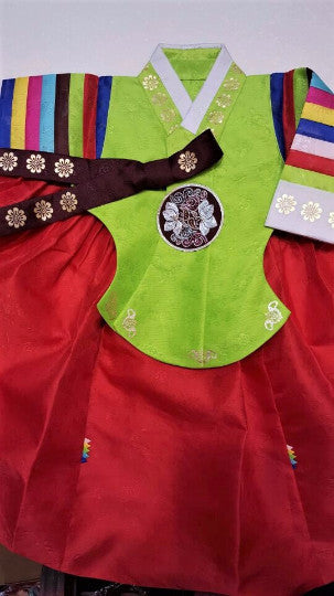 Hanbok - Green and Red - Girl Dol Hanbok Set - 7 Pieces