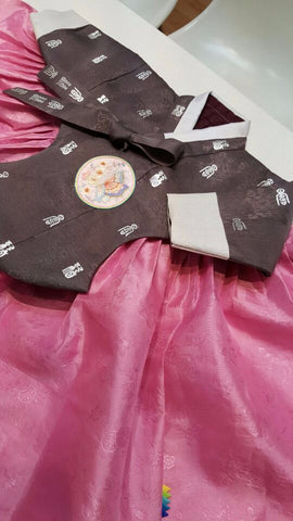 Brown with Silver Stamping and Pink - Girl Dol Hanbok Set - 7 Pieces
