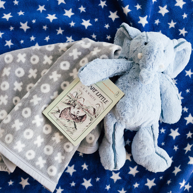 Infant Toddler - Under the Stars - Baby Crib Blanket - Navy Ivory