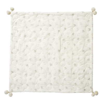 Crib Infant - Blanket - Little Lamb - Baby Crib Quilt with Pom Poms - White Gray