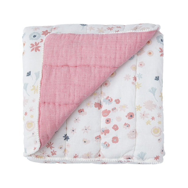 Crib Infant - Blanket - Meadow - Baby Crib Quilt - White Pink