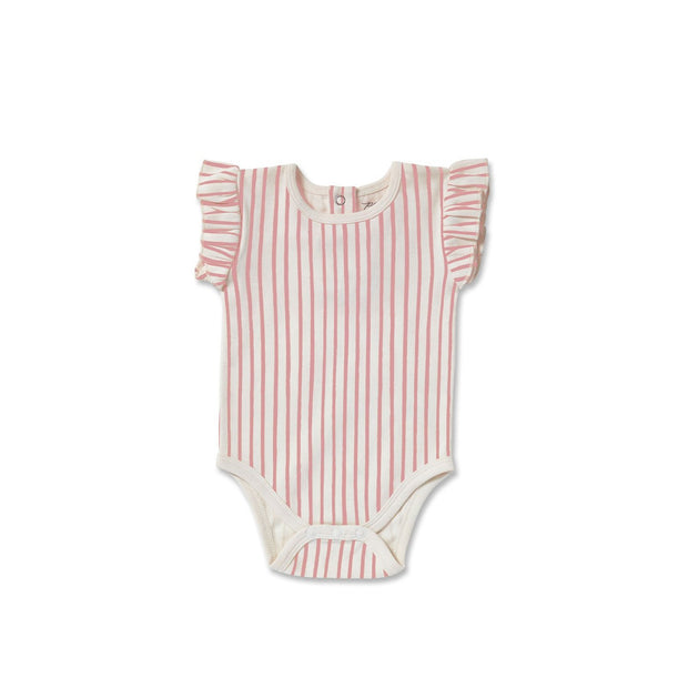 Baby Apparel - Sleeveless Ruffle Stripe One-Piece - Pink
