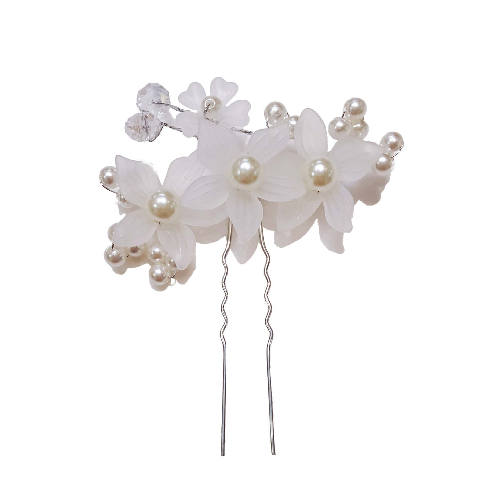 Hanbok Hair Accessory - White flower and Silver