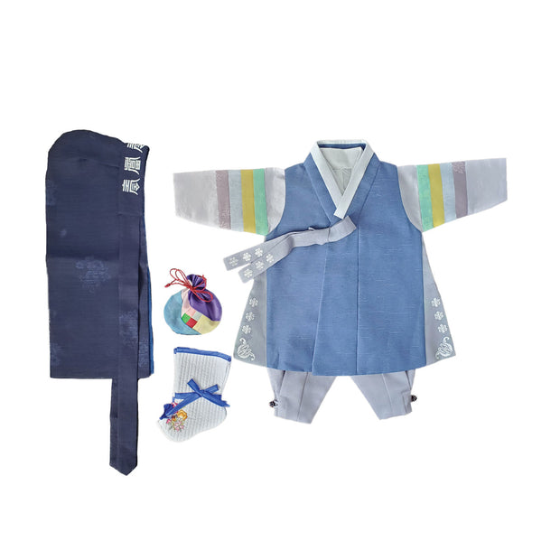 Jean Blue with Gray Trim and Silver - Boy Dol Hanbok Set - 6 Pieces Set