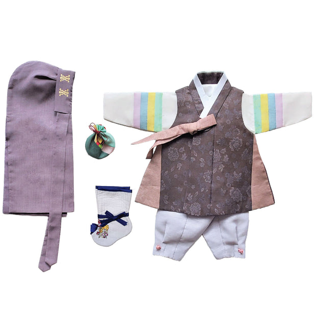 Brown with Taupe Trim and Gray - Boy Dol Hanbok Set - 6 Pieces